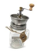 Smiths Mason Jar Coffee Cup Grinder Mug and Lid Set w Manual Coffee Grinder