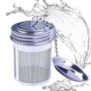 House Again Tea Infuser, Extra Fine Mesh Tea Ball Threaded Connexion 18/8 Stainless Steel with Extended Chain Hook for Hanging on Teapots Mugs Cups to Brew Loose Leaf Tea