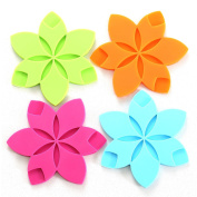 Teabloom Hot/Cold Slip-Proof Star Shaped Silicone Coasters / Trivet – Dishwasher-Safe, Microwave-Safe - Colourful, Protective, No-Scratch & Non-Stick Table Trivet 4pc Set
