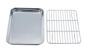 TeamFar Stainless Steel Toaster Oven Tray Pan and Rack Set, Compact Size 7''x9''x1'', Non Toxic & Healthy, Heavy Duty & Easy Clean, Dishwasher Safe