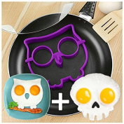 2 Pcs/set NEW 2014 Skull & Owl Egg Shaper Silicone Mould Egg Ring Novelty Breakfast Eggs Mould Cooking Tools Christmas Supplies