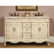 Silkroad Exclusive 150cm Stone Counter Top Bathroom Vanity Lavatory Double Sink Cabinet