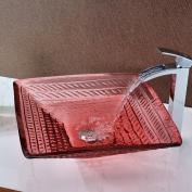 ANZZI Ritmo Glass Square Vessel Bathroom Sink