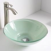 ANZZI Sonata Glass Circular Vessel Bathroom Sink