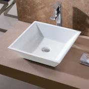 Luxier L-006 Bathroom Ceramic Square Vessel Bathroom Sink