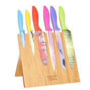 Magnetic Knife Block + Cutting Board - EcoTrueBamboo – Knife holder and Storage Rack + Bamboo Butcher Block. Chopping board for Meats, Cheese, or Veggies (25cm x 25cm ) Kitchen Décor, knives not included.