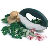 Stainless Steel Mezzaluna Chopper Dual Blades with Bevelled Edges Vegetable Chopper Knife