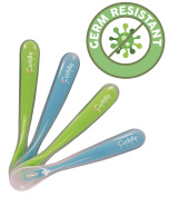 Cuddle Baby Gum-Friendly First Stage Soft Tip Silicone Feeding Spoons for Babies, Great Infant Gift Set BPA, lead, phthalate and plastic free, Light Blue/Green, 120ml