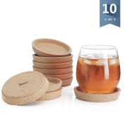 Sweese 3405 Cork Coasters - 10cm Perfect for Most Kind of Mugs - Protect Your Table from a Liquid Ring - Set of 10