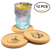 Coasters Set of 12 Cork Tray Coaster for Drinks with Funny Picture - Desktop Protection Prevent Furniture Damage - Durable Prevent Spills Tabletop Drink Coasters