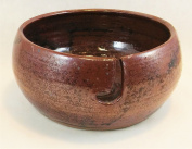 Aunt Chris' Pottery - Yarn Bowl - Rustic Bronze Glazed - Hand Made Clay - With Hole Shaped Like Hook To Guide The Yarn Through - Great Gift For Someone Who Knits Or Sews