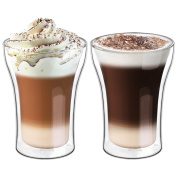 Ecooe 2x350ml/11.95oz Double Wall Cups Latte/Cappuccino/Milk/Juice Glass Cups
