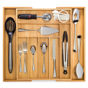 Bamboo Expandable Drawer Organiser, Premium Cutlery and Utensil Tray, 100% Pure Bamboo, Adjustable Kitchen Drawer Divider