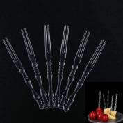50 Pcs Plastic Disposable Transparent Fruit Food Forks Party Supplies Plates Picks Cake Dessert Forks BY DINGJIN