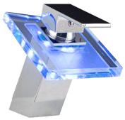 LightInTheBox Modern Single Handle Waterfall Bathroom Vanity Vessel Sink LED Faucet, Chrome