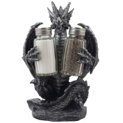 Mythical Dragon Salt and Pepper Shaker Set with Holder Figurine for Mediaeval & Fantasy Bar or Kitchen Table Decor Sculptures and Gothic Gifts by Home-n-Gifts