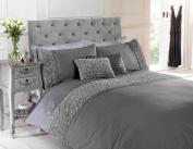Chateau De Belle Maison Raised Rose and Ribbon Duvet Cover Set, Polycotton, Grey, Double