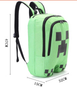 Minecraft Backpack factory direct children schoolbag boy girls canvas zip green creeper backpack