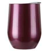 Uspeedy Stainless Steel Wine Glasses, Wine Cup, Wine Tumbler Sippy Cup with Lid for Red Wine, Cocktail, Liquors and Nonalcoholic Beverages