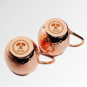 Mulenir Moscow Mule Mugs - Pair Of Copper Mugs Styled With a Hammered Finish - Welded Handles - Lined With Food Safe Stainless Steel- Includes Mule Recipe Book - Great Gift For Weddings And Holidays