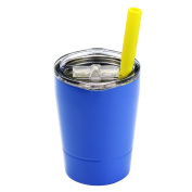 Colourful PoPo Kids Stainless Steel Cup Lovely Small Rambler Tumbler with Lid and Silicone Straw, 250ml