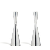 2 Silver Finished Taper Candle Holders, 19cm , Metal, Hourglass Shape, Fits Standard Candlestick Diameters
