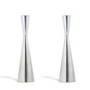2 Silver Finished Taper Candle Holders, 23cm , Metal, Hourglass Shape, Fits ALL Standard Candlesticks