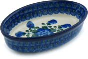 Polish Pottery 6½-inch Condiment Dish made by Ceramika Artystyczna (Blue Poppies Theme) + Certificate of Authenticity