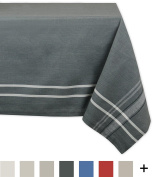 DII 100% Cotton, Machine Washable, Everyday French Stripe Kitchen Tablecloth For Dinner Parties, Summer & Outdoor Picnics - 150cm x 210cm Seats 6 to 8 People, Grey Chambray