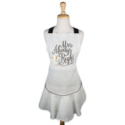 DII Cotton Women Ruffle Apron with Pocket and Extra Long Ties Perfect for Holiday, Housewarming and Wedding Gift, 70cm x 70cm , Mrs Always Right