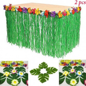 Adorox 2 Table Skirt Hawaiian Luau Hibiscus Green Table Skirt 2.7m Party Decorations (Green