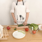 70cm x 60cm White Adjustable 100% Cotton Cooking Kitchen Bib Apron with Pockets for Women Men Chef