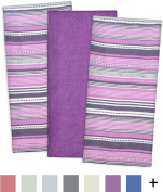 DII Cotton Pre Shrunk Urban Stripe Dish Towels, 50cm x 80cm Set of 3, Modern Design Kitchen Towels for Cooking and Baking-Eggplant
