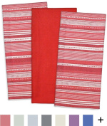 DII Cotton Pre Shrunk Urban Stripe Dish Towels, 50cm x 80cm Set of 3, Modern Design Kitchen Towels for Cooking and Baking-Tango Red