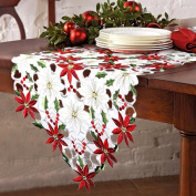 OurWarm Christmas Embroidered Table Runners Poinsettia Holly Leaf Table Linens for Christmas Decorations 38cm x 180cm