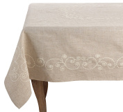 SARO LIFESTYLE Embroidered Swirl Design Linen Blend Tablecloth, 170cm , Natural