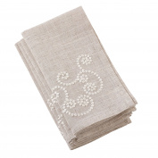 SARO LIFESTYLE Embroidered Swirl Design Linen Blend Napkin-Set of 4, 50cm , Natural