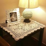 yazi Tablecloths Crochet Square Table Cover Lace Table Covering Doilies for Furniture Décor Beige Colour 40cm