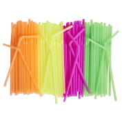 Neon Coloured Drinking Straws (500-Count) Flexible, Disposable Kid Friendly, Assorted Colours