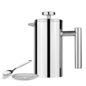 AmoVee French Press Coffee Maker Tea Maker, 304 Stainless Steel Double Insulation, with Coffee Spoon and Bonus Screen