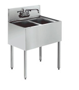 Stainless Steel Two Compartment Under Bar Sink with Faucet 24 x 18