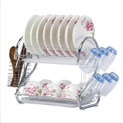 Dish Drying Rack - 【WORTOOL】2 Tier Dish Rack and Drain Board, 50cm 'S' Shape Double Draining Tray Design Effectively Prevent Cross-Contamination.