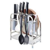 Knife Rack Cutting Board Holder, Shrimp 304 Stainless Steel Kitchen Utensils Rack Chopping Boards/Knives/Chopsticks/Spoon/Fork/Flatware Storage Drying Drainer