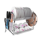 2-Tier Dish Rack Stainless Steel Dish Drying Rack Kitchen Storage Organisation 17x 10Inches x 38cm