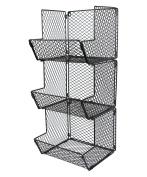 ESYLIFE Multipurpose Wall Mount 3 Tier Bathroom Towel Basket Wire Kitchen Storage Bin Organiser Fruit Rack Stand, Black