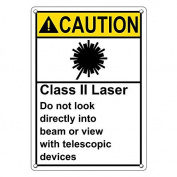 Weatherproof Plastic Vertical ANSI CAUTION Class Ii Laser Do Not Look Into Beam Sign with English Text and Symbol