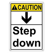 Weatherproof Plastic Vertical ANSI CAUTION Step Down Sign with English Text and Symbol