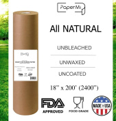 """Kraft Brown Butcher Paper Roll - All Natural, USA Made Wrapping for Arts & Craft, Packaging, BBQ, Smoke Meat, Brisket - FDA Approved Food Grade, Unbleached, Unwaxed, Uncoated Sheet, 18"""" x 200'"""