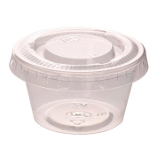 Zicome 60ml Plastic Disposable Portion Cups Souffle Cups with Lids for Shots, Salad Dressings, Sauces, 100 Counts