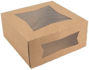 20cm Length x 20cm Width x 10cm Height Kraft Paperboard Auto-Popup Window Pie / Bakery Box by MT Products (Pack of 15)